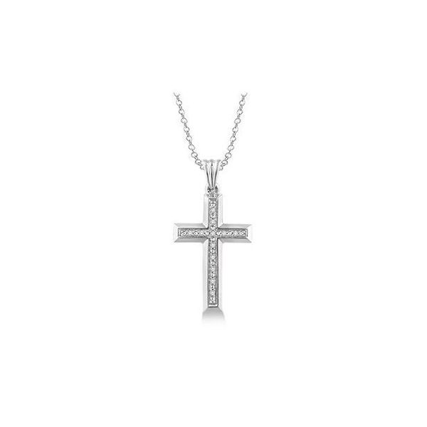 Sterling Silver 1/20ctw Single Cut Diamond Cross Pendant Robert Irwin Jewelers Memphis, TN