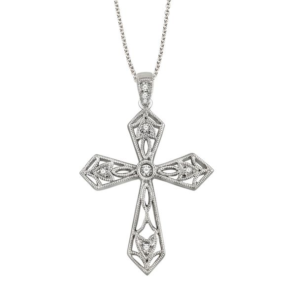 Sterling Silver 1/20ctw Diamond Cross Pendant Robert Irwin Jewelers Memphis, TN