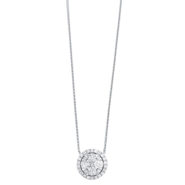 14k White Gold 1/2ctw Round Diamond Halo Cluster Pendant Robert Irwin Jewelers Memphis, TN