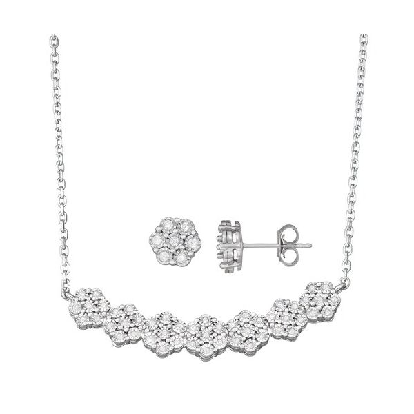 Sterling Silver 1/2ctw Diamond Flower Necklace and Earring Set Robert Irwin Jewelers Memphis, TN
