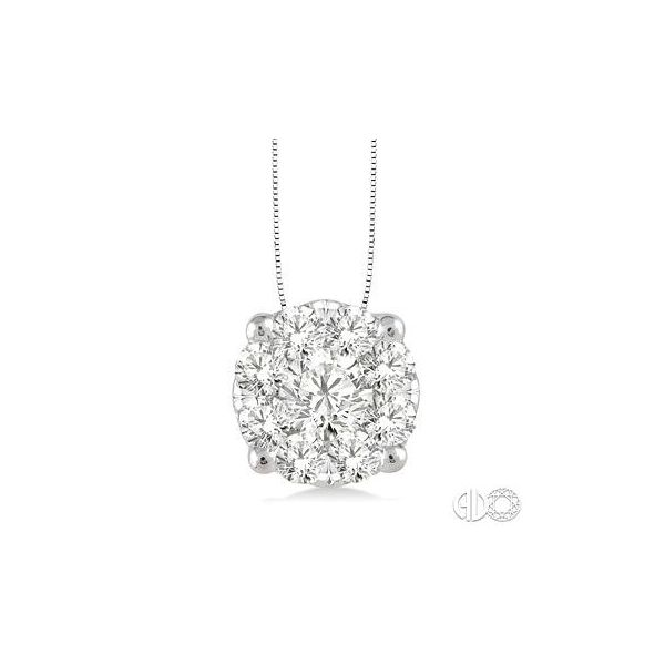 14k White Gold 1ctw Diamond Cluster Pendant Robert Irwin Jewelers Memphis, TN