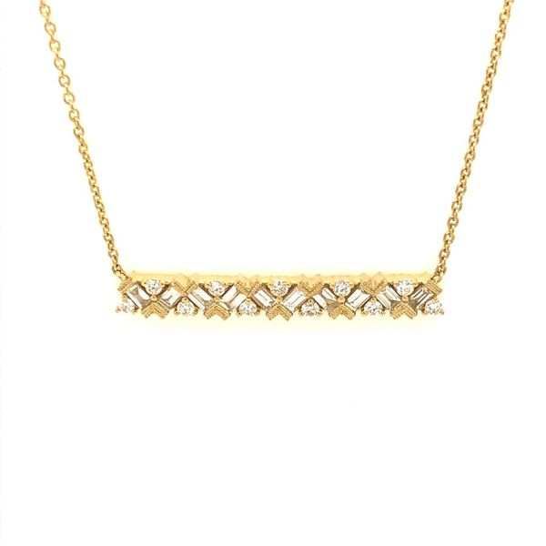 14k Yellow Gold 0.65ctw Diamond Dutchess Bar Necklace Robert Irwin Jewelers Memphis, TN