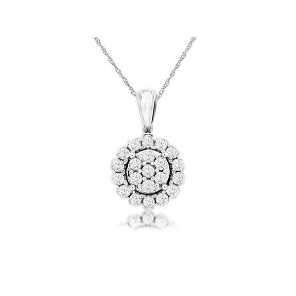 14k White Gold 0.34ctw Diamond Cluster Pendant Robert Irwin Jewelers Memphis, TN