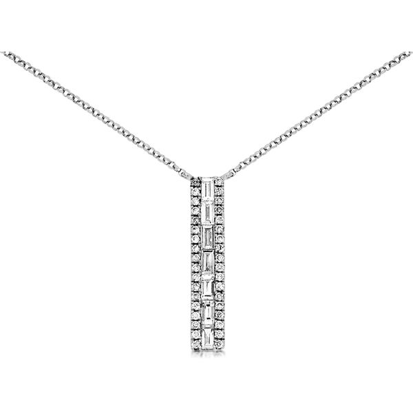 14k White Gold 0.43ctw Diamond Bar Pendant Robert Irwin Jewelers Memphis, TN