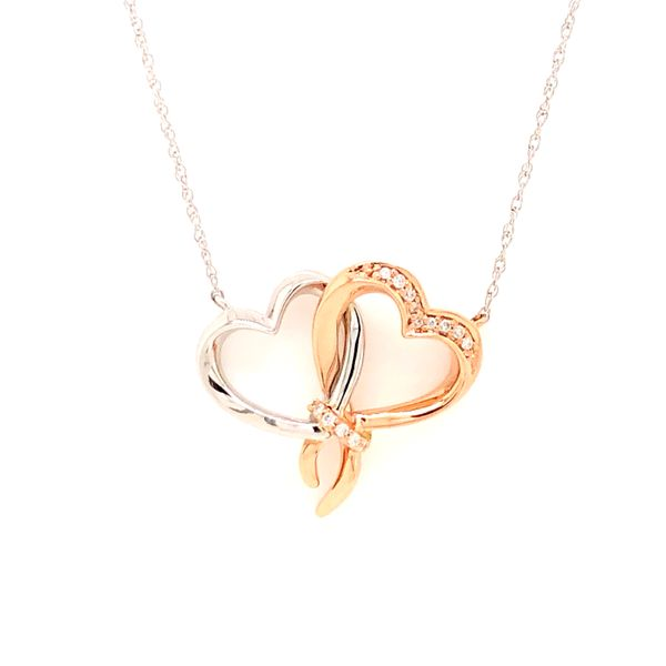 14k Two Tone Gold Double Heart 0.05ctw Diamond Pendant Robert Irwin Jewelers Memphis, TN