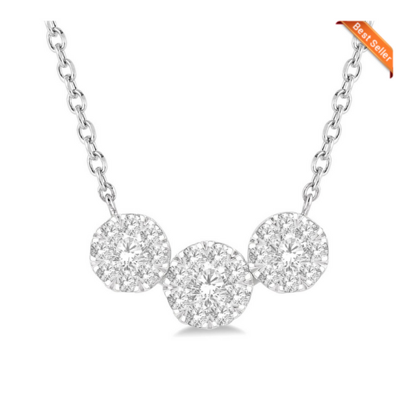 14 Karat White Gold 1/3ctw Lovebright Diamond Necklace Robert Irwin Jewelers Memphis, TN