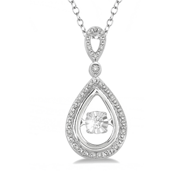 1/10 Ctw Pear Shape Diamond Emotion Pendant in Sterling Silver with Chain Robert Irwin Jewelers Memphis, TN