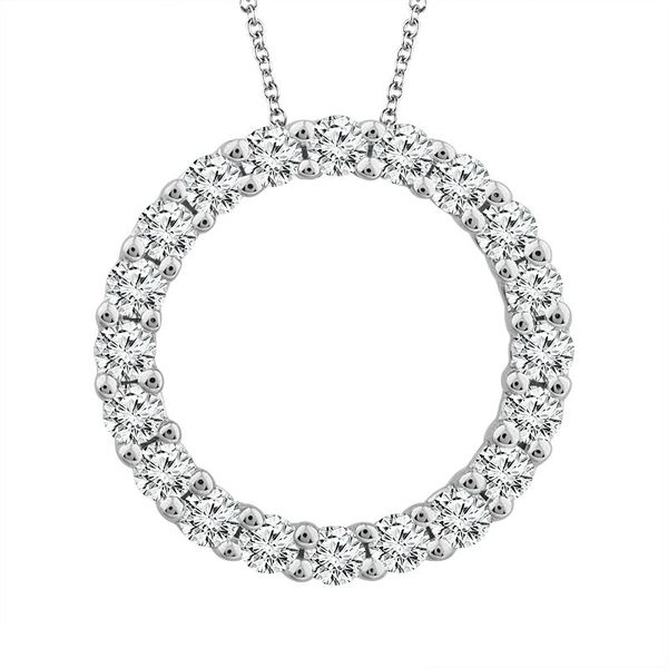 14k White Gold 0.75ctw Diamond Circle Pendant Robert Irwin Jewelers Memphis, TN