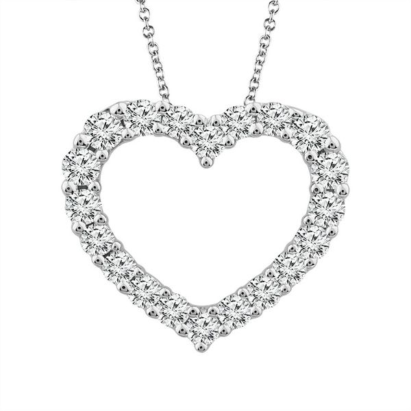 14k White Gold 1.00ctw Diamond Heart Pendant Robert Irwin Jewelers Memphis, TN