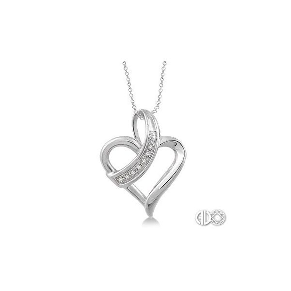 Sterling Silver 1/20ctw Diamond Heart Pendant Robert Irwin Jewelers Memphis, TN