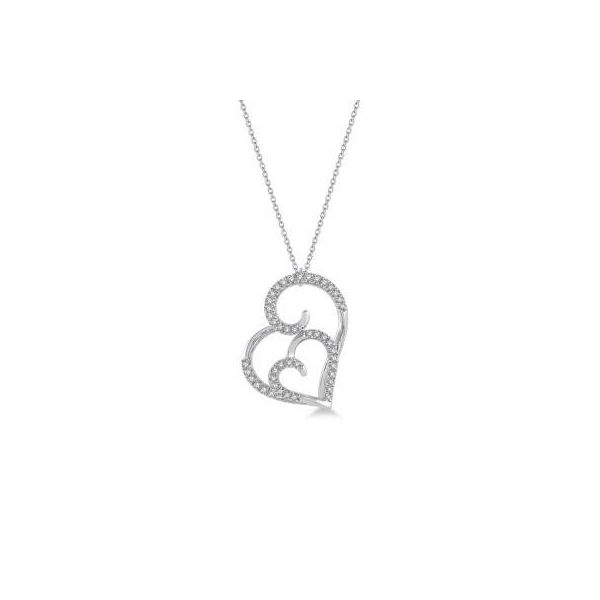 10k White Gold 1/6ctw Diamond Double Heart Pendant Robert Irwin Jewelers Memphis, TN
