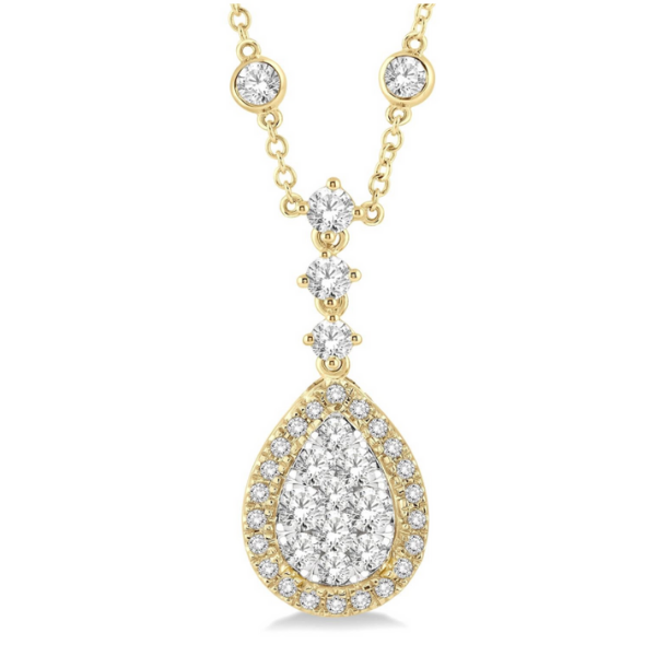 18k Yellow and White Gold 2.35ctw Diamond Pear Shape Halo Couture Pendant Robert Irwin Jewelers Memphis, TN