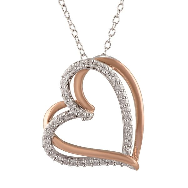 Sterling Silver 1/4 Carat Two-Tone Heart Pendant With Chain Robert Irwin Jewelers Memphis, TN