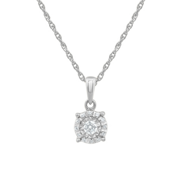 Sterling Silver 1/10 Carat Diamond Halo Pendant With Cable Link Chain Robert Irwin Jewelers Memphis, TN