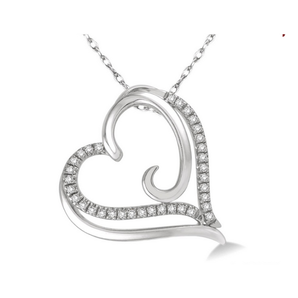 10 Karat White Gold 1/10 Carat Diamond Heart Pendant Robert Irwin Jewelers Memphis, TN