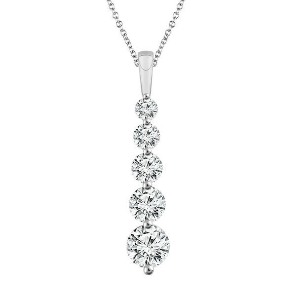 14k White Gold 0.75ctw Five Stone Diamond Pendant Robert Irwin Jewelers Memphis, TN