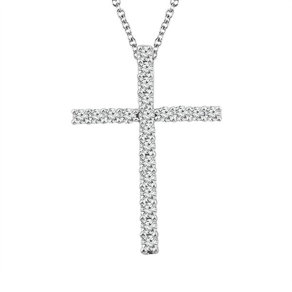 14k White Gold 1.00ctw Diamond Cross Pendant Robert Irwin Jewelers Memphis, TN