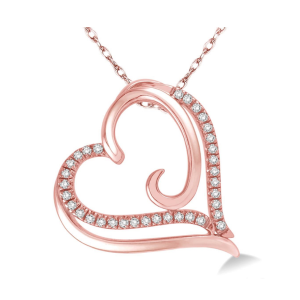 10 Karat Rose Gold 1/10 Carat Diamond Heart Pendant Robert Irwin Jewelers Memphis, TN