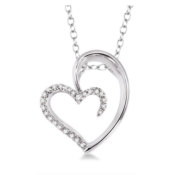 Sterling Silver 1/10 Carat Diamond Heart Pendant Robert Irwin Jewelers Memphis, TN