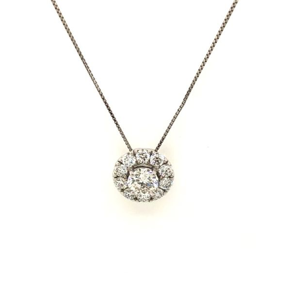 14k White Gold 1.00ctw Lab Grown Diamond Halo Pendant Robert Irwin Jewelers Memphis, TN