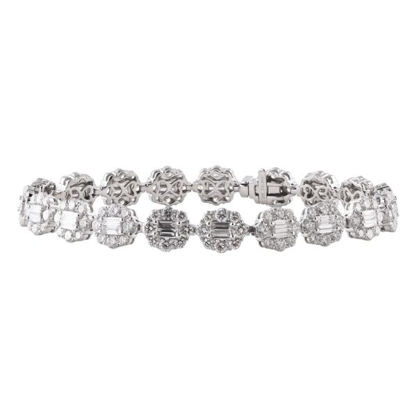 18k White Gold 5.30ctw Baguette and Round Diamond Tennis Bracelet Robert Irwin Jewelers Memphis, TN