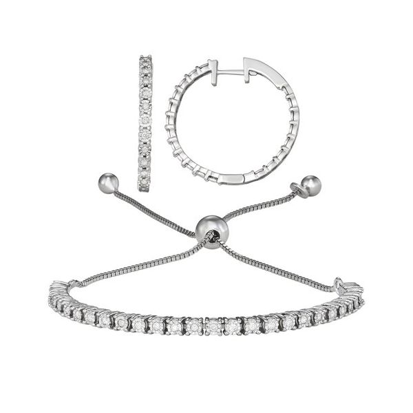 Sterling Silver 1/2ctw Diamond Bolo Bracelet and Hoop Earring Set Robert Irwin Jewelers Memphis, TN