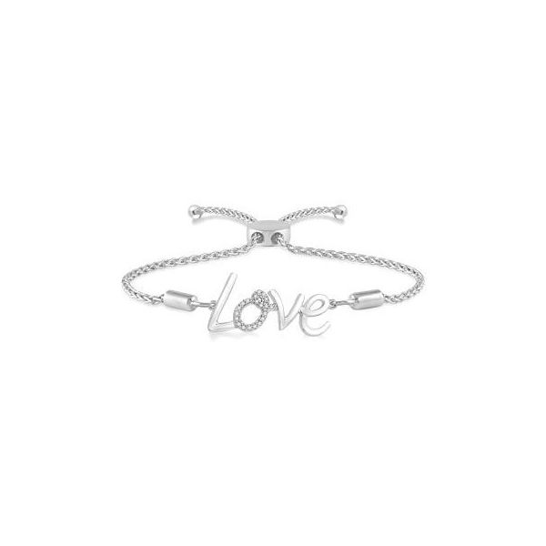 Sterling Silver 1/20ctw Diamond Love Bolo Bracelet Robert Irwin Jewelers Memphis, TN