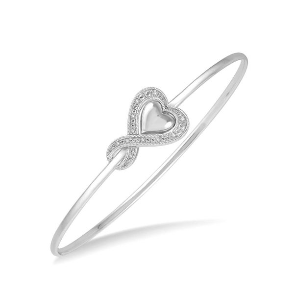 Sterling Silver 0.07ctw Diamond Heart Bangle Robert Irwin Jewelers Memphis, TN