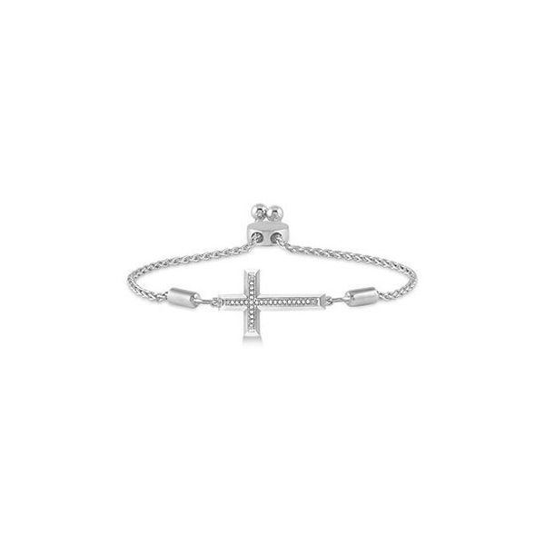 Sterling Silver 1/20ctw Diamond Cross Lariat Bracelet Robert Irwin Jewelers Memphis, TN