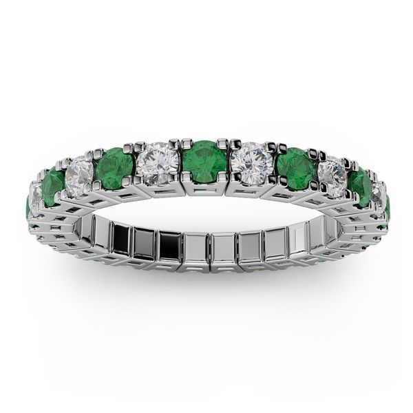 14k White Gold 0.50ctw Emerald and Diamond Flexible Band Robert Irwin Jewelers Memphis, TN