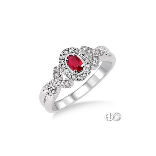 Sterling Silver 5x3mm Oval Cut Ruby and 1/50ctw Diamond Ring Robert Irwin Jewelers Memphis, TN