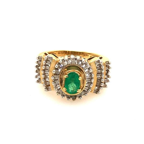 14k Yellow Gold 0.95ctw Emerald and Diamond Ring Robert Irwin Jewelers Memphis, TN