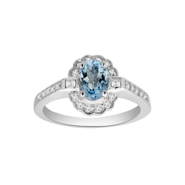 14k White Gold 1.10ctw Aquamarine and Diamond Ring Robert Irwin Jewelers Memphis, TN