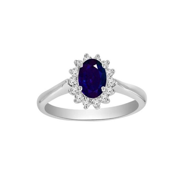 14k White Gold 1.20ctw Oval Sapphire and Diamond Ring Robert Irwin Jewelers Memphis, TN