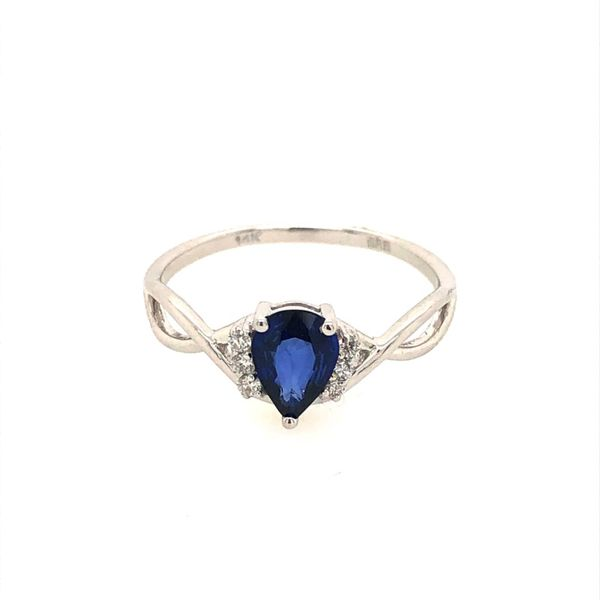 14k White Gold 0.86ctw Pear Sapphire and Diamond Ring Robert Irwin Jewelers Memphis, TN