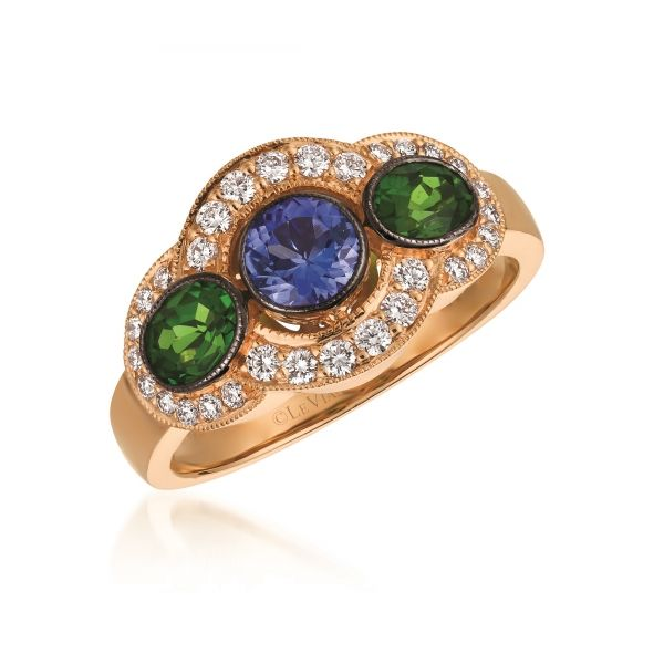 LeVian 14k Strawberry Gold 3/8ctw Blueberry Tanzanite Ring With 1/2ctw Pistachio Diopside and 1/3ctw Vanilla Diamonds Robert Irwin Jewelers Memphis, TN