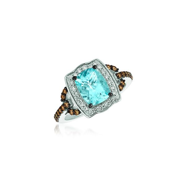 LeVian 14k Vanilla Gold 1 5/8ctw Sea Blue Aquamarine Ring With 1/4ctw Vanilla Diamonds and 1/3ctw Chocolate Diamonds Robert Irwin Jewelers Memphis, TN