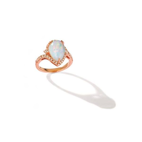 LeVian 14k Strawberry Gold 2 1/4ctw Neopolitan Opal and 1/2ctw Nude Diamond Ring Robert Irwin Jewelers Memphis, TN