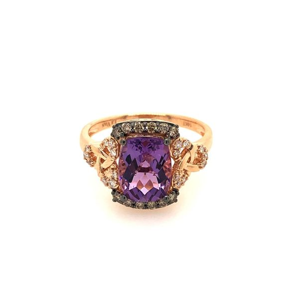 LeVian 14k Strawberry Gold 1.91ctw Grape Amethyst Ring With Chocolate and Vanilla Diamonds Robert Irwin Jewelers Memphis, TN