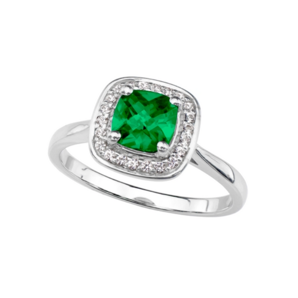 Sterling Silver Lab Created Emerald and White Sapphire Halo Ring Robert Irwin Jewelers Memphis, TN