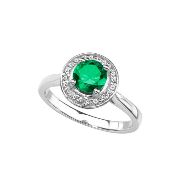 Sterling Silver Lab Created Round Emerald and White Sapphire Halo Ring Robert Irwin Jewelers Memphis, TN