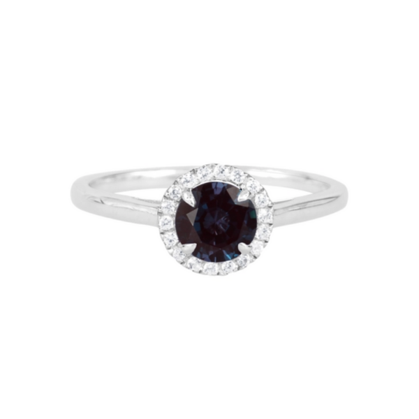 Sterling Silver Lab Created Round Alexandrite and White Sapphire Halo Ring Robert Irwin Jewelers Memphis, TN
