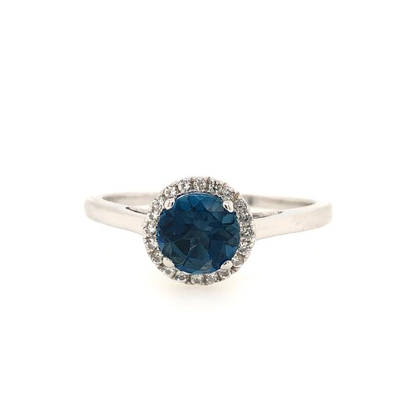 Sterling Silver Lab Created London Blue Topaz and White Sapphire Halo Ring Robert Irwin Jewelers Memphis, TN