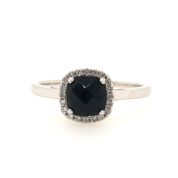 Sterling Silver Lab Created Black Onyx and White Sapphire Halo Ring Robert Irwin Jewelers Memphis, TN