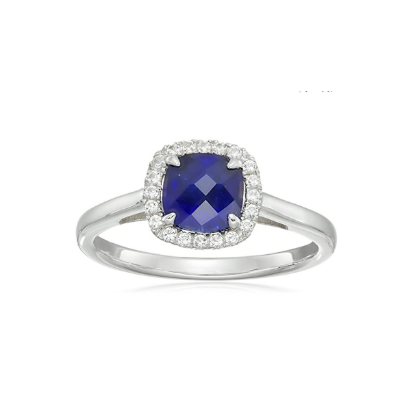 Sterling Silver Lab Created Blue and White Topaz Halo Ring Robert Irwin Jewelers Memphis, TN