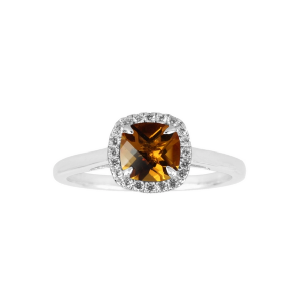Sterling Silver Lab Created Citrine and White Sapphire Halo Ring Robert Irwin Jewelers Memphis, TN