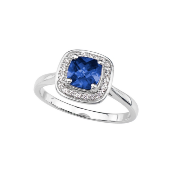 Sterling Silver Lab Created Blue and White Sapphire Ring Robert Irwin Jewelers Memphis, TN