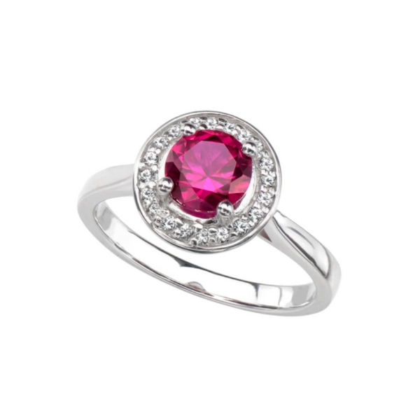 Sterling Silver Lab Created Ruby and White Sapphire Halo Ring Robert Irwin Jewelers Memphis, TN
