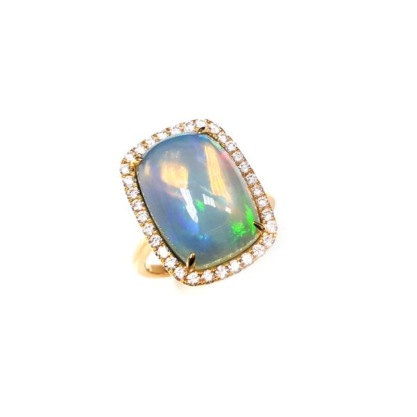 14k White Gold Dvani 1 1/2ctw Opal and Diamond Ring Robert Irwin Jewelers Memphis, TN