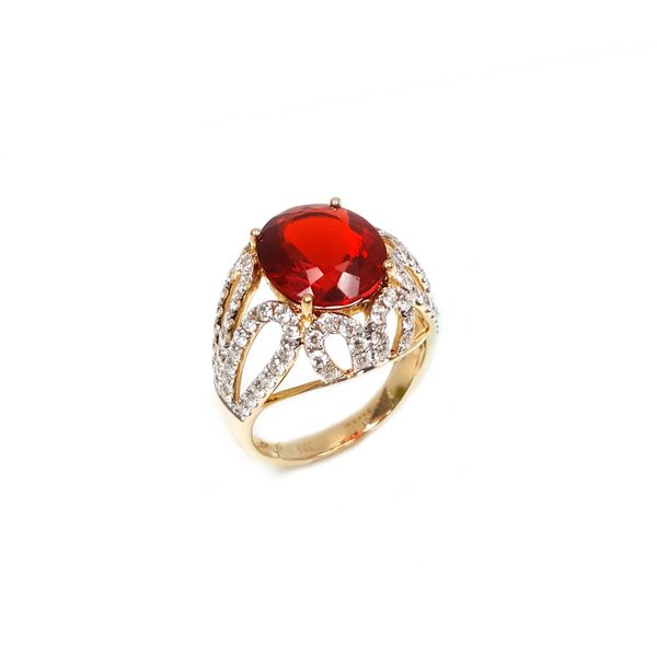 14k Yellow Gold Dvani 4 1/2ctw Fire Opal and Diamond Ring Robert Irwin Jewelers Memphis, TN